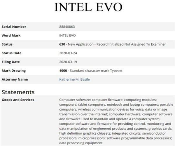 也许为了保护?疑似显卡品牌名,Intel注册EVO商...